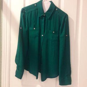 size 2 silk blouse White House Black Market